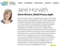 苹果隐私总监简·霍瓦特将在CES的消费者隐私圆桌会议上发表演讲